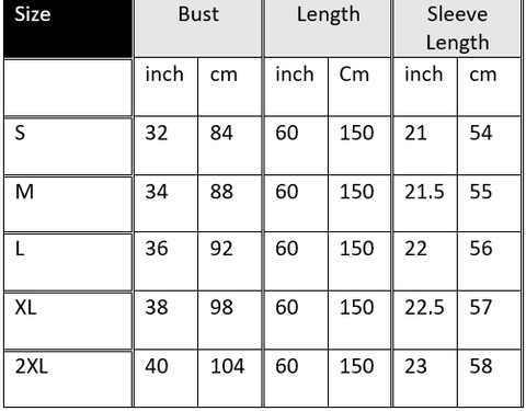 maternity lace gown size chart