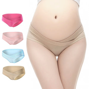 4Pcs/Set  Low Waist Maternity Underwear Set, Pregnancy Panties Set of 4