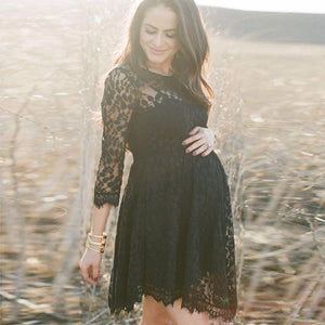 Black Formal Maternity Dress, Lace Maternity Cocktail Dress