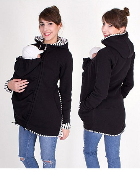 Maternity Kangaroo Hoodie, Baby Chest Carrier Wrap Jacket