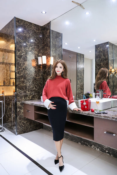 Knitted Maternity Skirt, Woolen Pregnancy Skirt