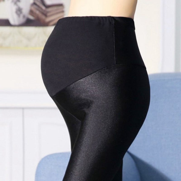 Shiny Maternity Pencil Pants, Black Maternity Leggings
