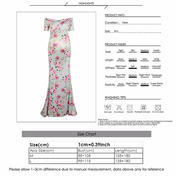 Pink Floral Maternity Long Summer Dress, Pregnancy Party Gown