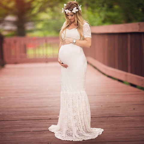 White Maternity Wedding Dress, Lace Pregnancy Photoshoot Wear