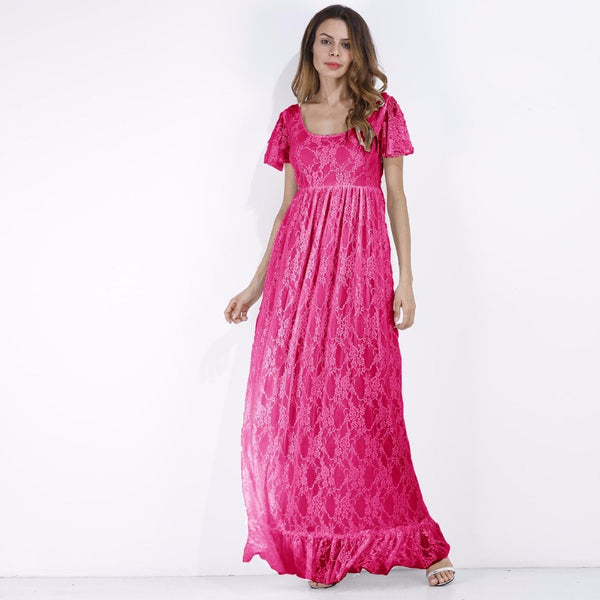 Pink Lace Maternity Dress, Plus Size Maxi Pregnancy Wear