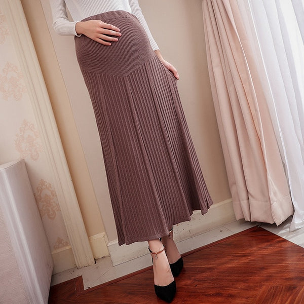 Stylish Woolen Maternity Long Skirt, Knitted Pregnancy Skirt