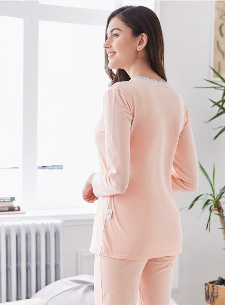 Long Sleeves Maternity Sleepwear, Adjustable Pregnancy Pajamas