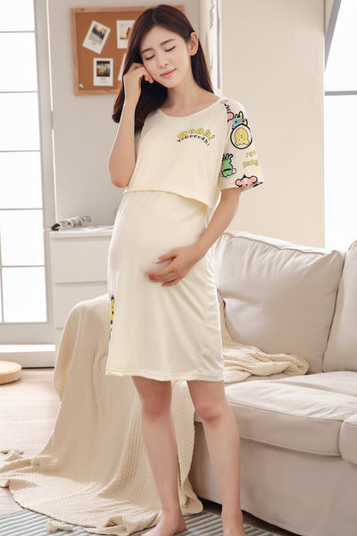 Cute Breastfeeding Nightgown for Pregnant Women, Maternity Nightgown