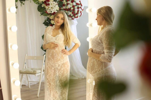 Maternity Lace Maxi Dress for Photoshoot, Bodycon Gown for Pregnancy Photoshoot