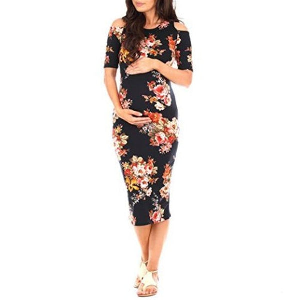 Fitted Floral Maternity Dress, Trendy Bodycon Pregnancy Dress