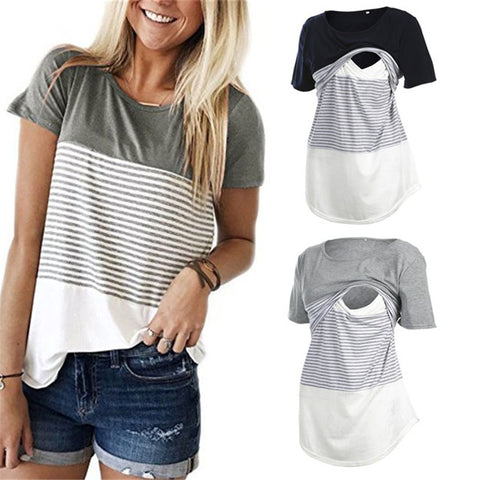 Striped Nursing T-shirt, Stylish Breastfeeding Top
