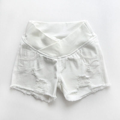 Summer Maternity Jean Shorts, White/Blue/Black Pregnancy Shorts