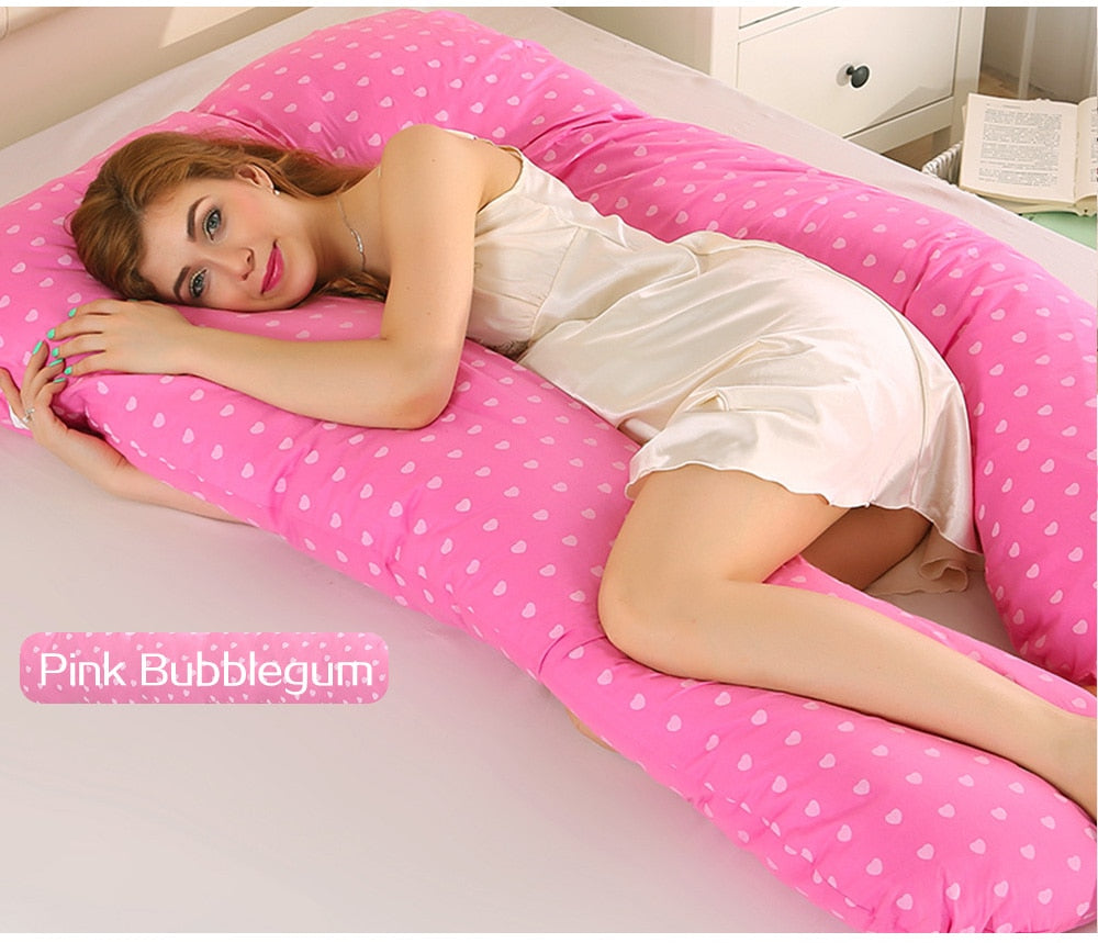Cute U-Shaped Maternity Pillow, Cotton Body Sleeping Pillow