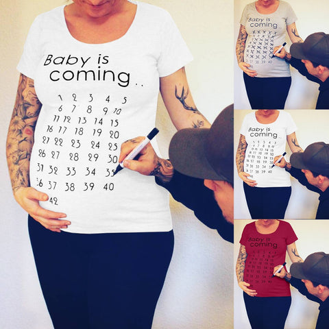 Baby is Coming Cute/Funny Maternity Tshirt for Photoshoot