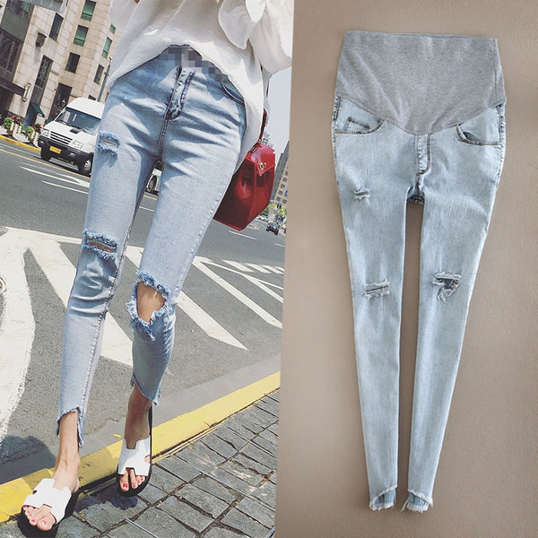 Ankle-Length Ripped Maternity Denims, Cool Pregnancy Jeans