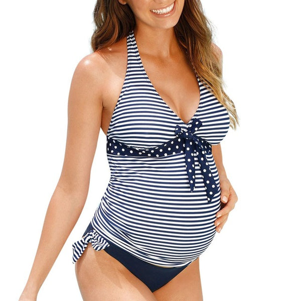 Striped Maternity Swimsuit for All Sizes (Including Plus Size)