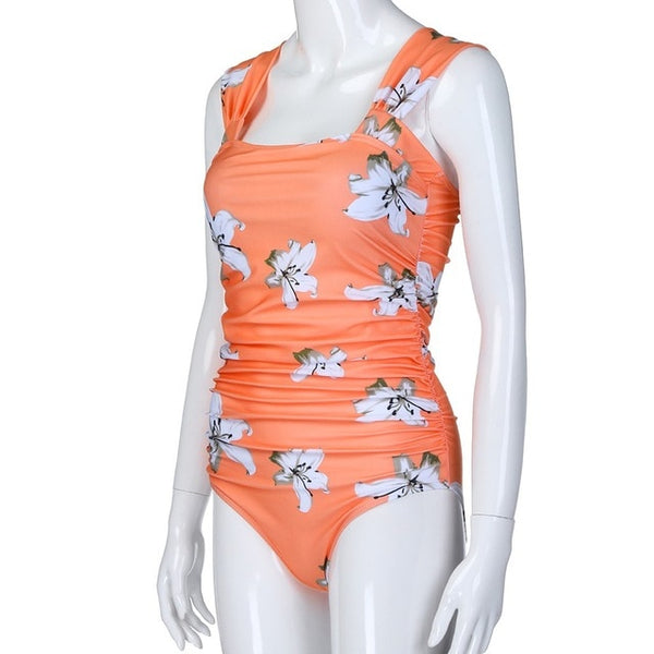 Floral Maternity Bathing Suit, One-Piece Maternity Swimwear