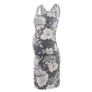 Floral Tank Dress for Pregnant Women, Fitted Maternity Dress