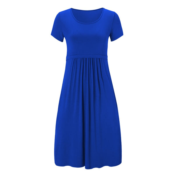 Casual Maternity Nursing Dress, Blue Breastfeeding Summer Dress