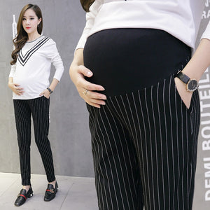 Stylish Maternity Office Pants, Fashionable Striped Pregnancy Pants