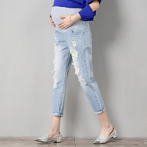 Ripped Denim Maternity Jeans, Trendy Blue Maternity Pants