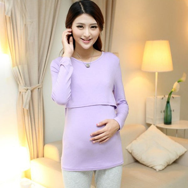 Long Nursing Top, Full Sleeves Breastfeeding Tshirt