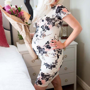 Floral Maternity Fitted Dress, Stylish Pregnancy Party Dress
