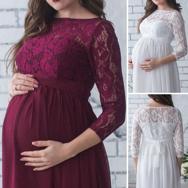 Pleated Lace Chiffon Maternity Gown, Long Evening Maternity Dress