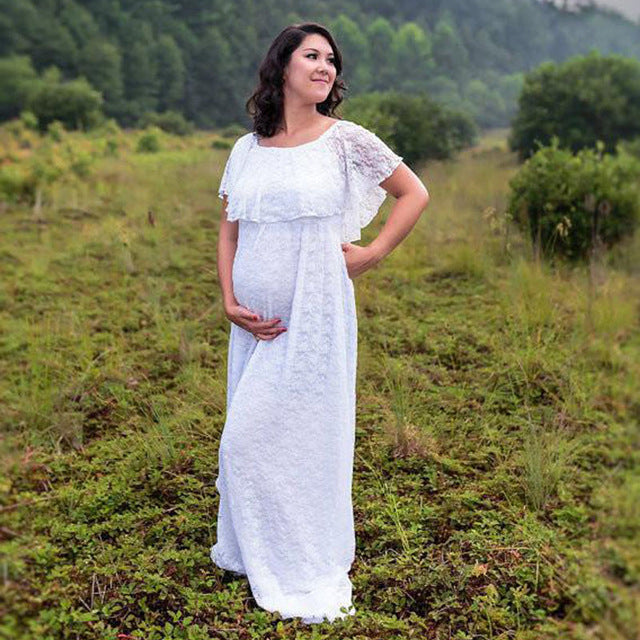 Lace Wedding Maternity Dress, Long Maternity Gown for Photoshoot