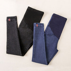 Blue/Black Skinny Maternity Jeans, Comfy Pregnancy Leggings