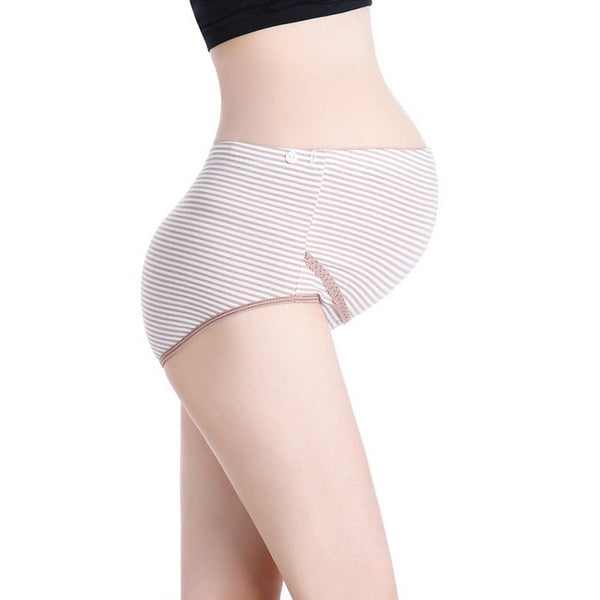 Striped Adjustable Maternity Underwear, Cotton Pregnancy Panties