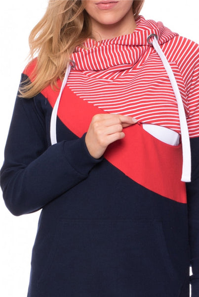 Fashionable Maternity Nursing Hoodie, Stylish Breastfeeding Sweatshirt