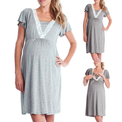 Grey Maternity Nursing Nightgown, Comfy Breastfeeding Nursing Dress