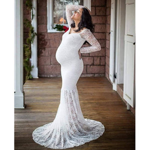 white lace maternity photoshoot dress