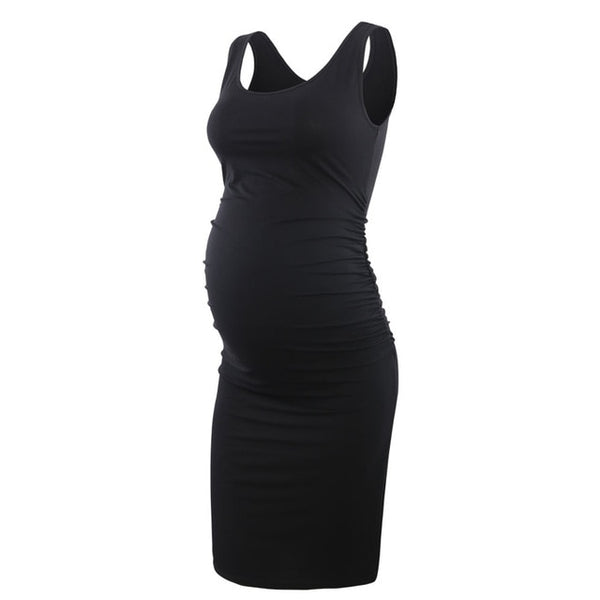 Sleeveless Maternity Tank Dress, Bodycon Fitted Pregnany Wear