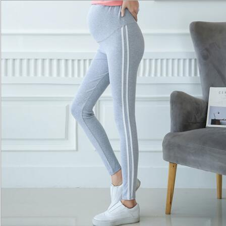 Side Striped Maternity Leggings, Comfortable Pregnancy Jeggings