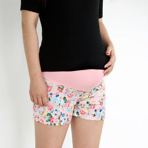 Cute Floral Maternity Shorts, Summer Colors Pink/Blue/Green