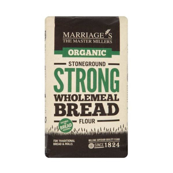 Marriages Organic Strong Stoneground Wholemeal Flour 1kg x 6