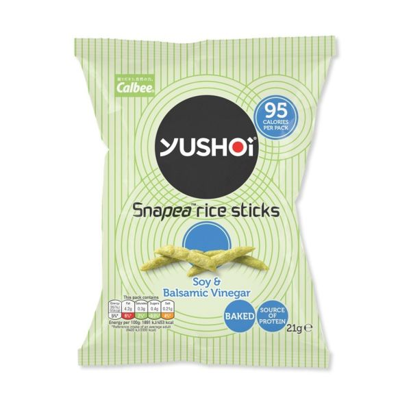 Yushoi Soy & Balsamic Vinegar Snapea Rice Sticks 21g x 24