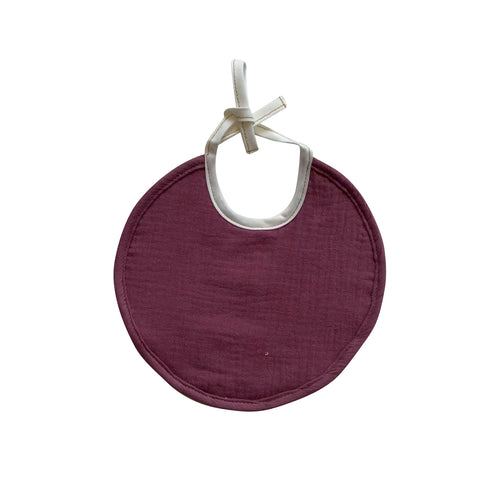 Towelled Round Bib - Dark Pink