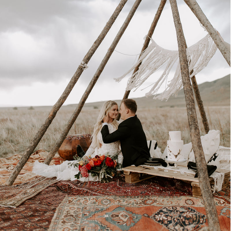 Bohemian wedding bridals in the desert