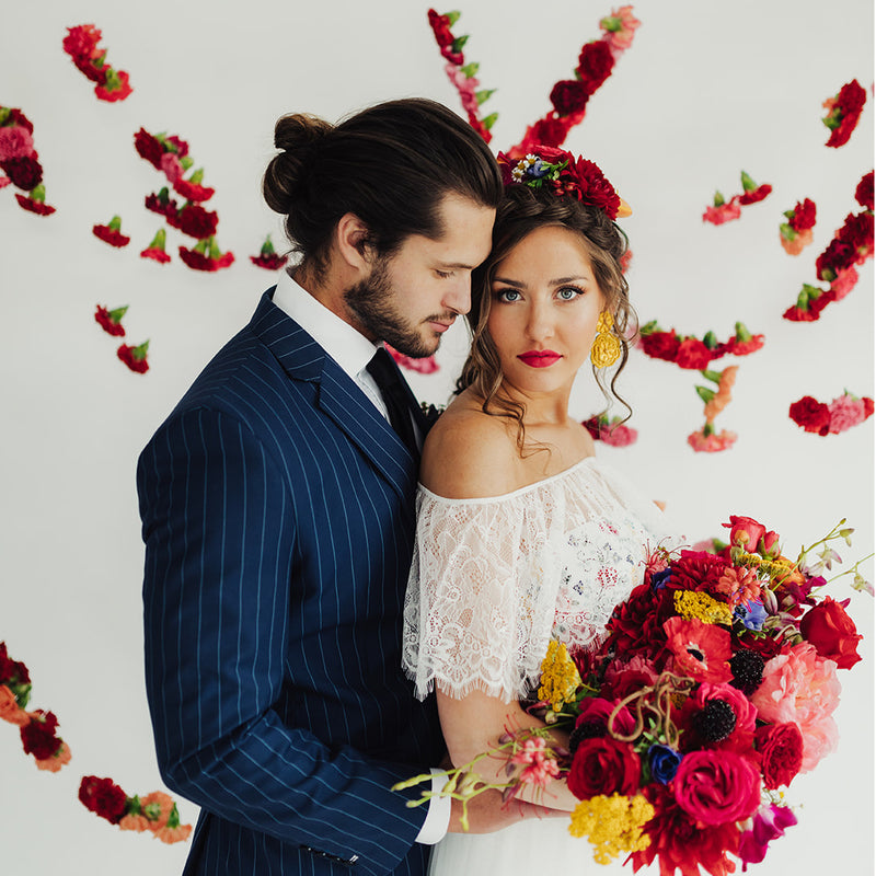 Forever folk Utah Valley Bride editorial shoot 2019, wedding couple with bright colored florals