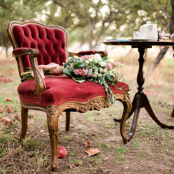 Red velvet French chair in an orchard