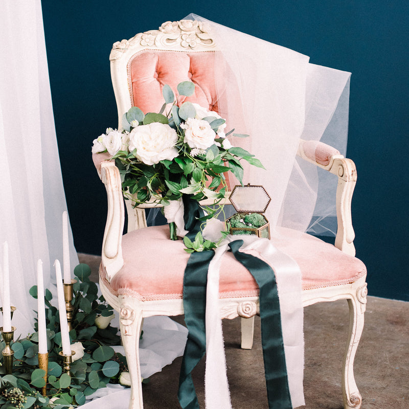 Pink vintage french chair with florals