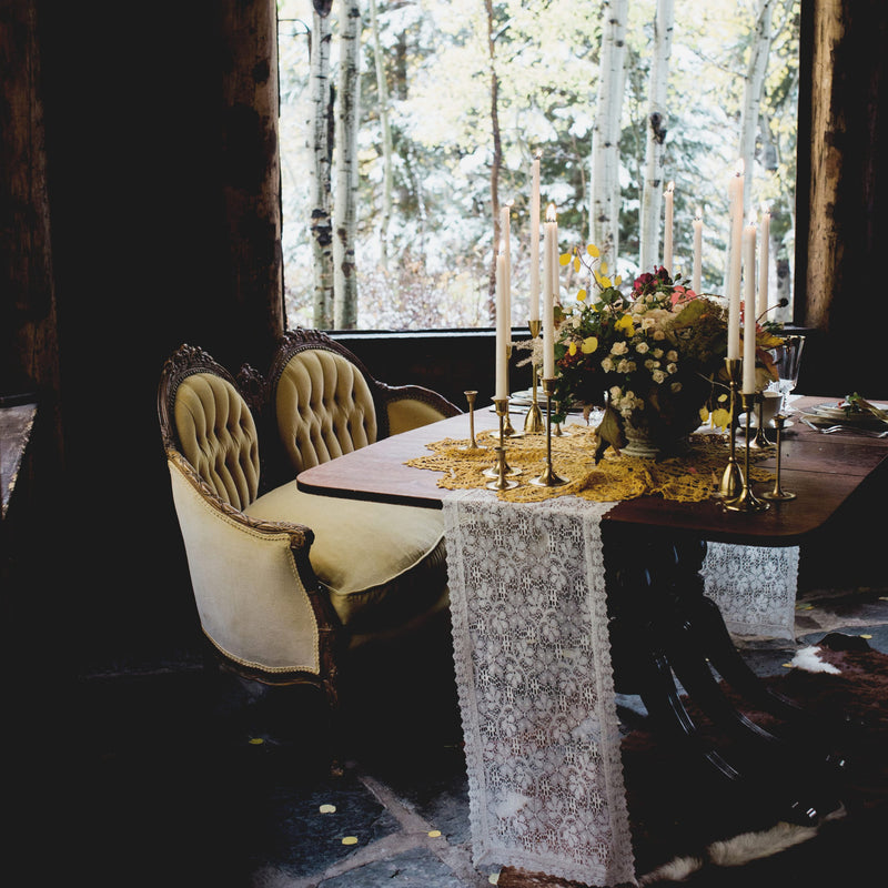 Woodsy wedding decor mustard settee styled shoot up Cottonwood Canyon