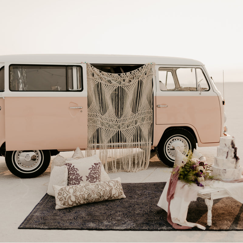 Pink VW bus and hippie macrame wedding shoot at the Utah Salt Flats