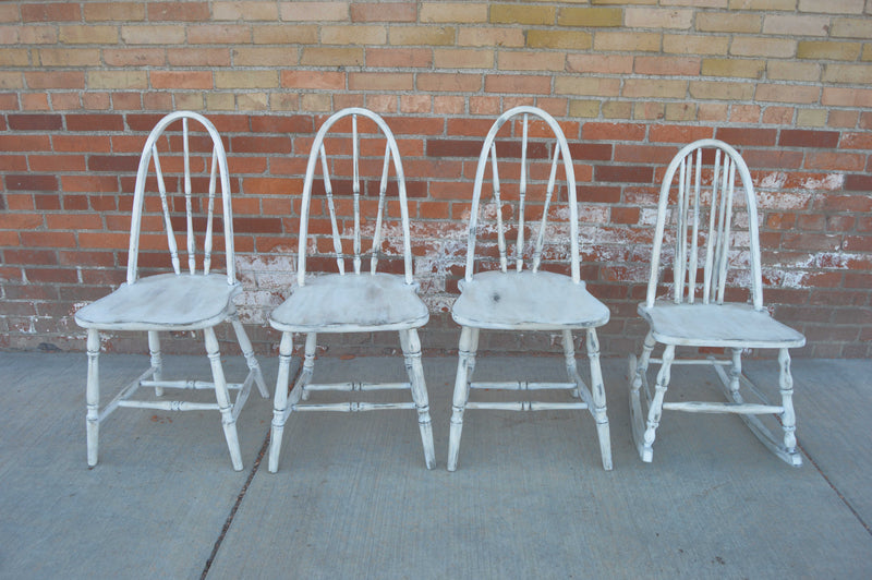 Antique white refinished chairs & rocking chair