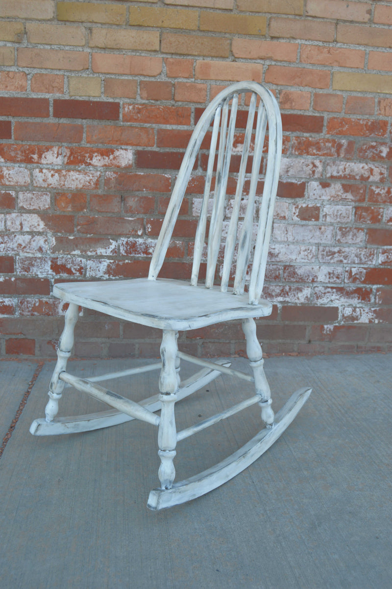 Antique white refinished rocking chair