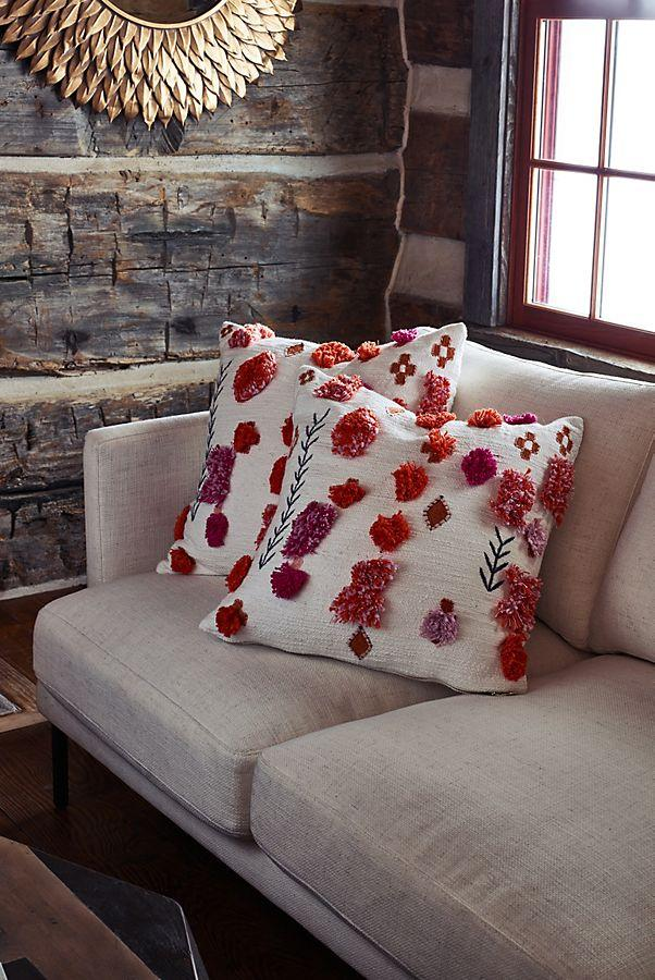 Pink and orange throw pillows