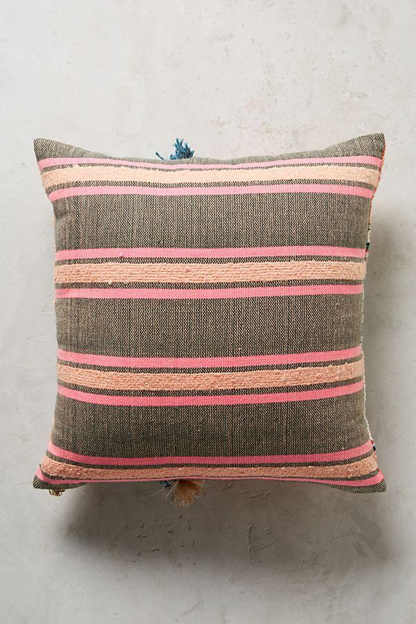 Multi colored boho pillow with stripes